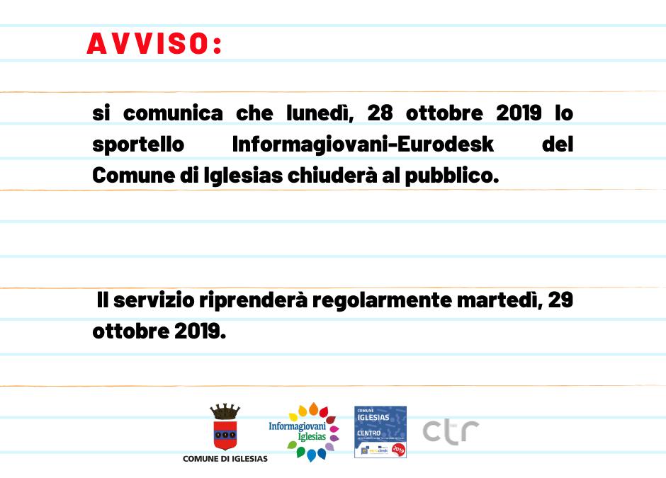 Avviso: chiusura al pubblico dello sportello Informagiovani-Eurodesk prevista per lunedì, 28 ottobre