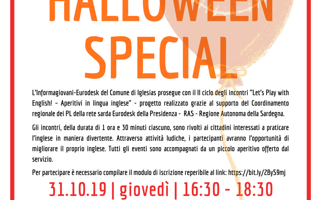 "Aperitivi Linguistici ""LET'S PLAY WITH ENGLISH!"" – HALLOWEEN SPECIAL"