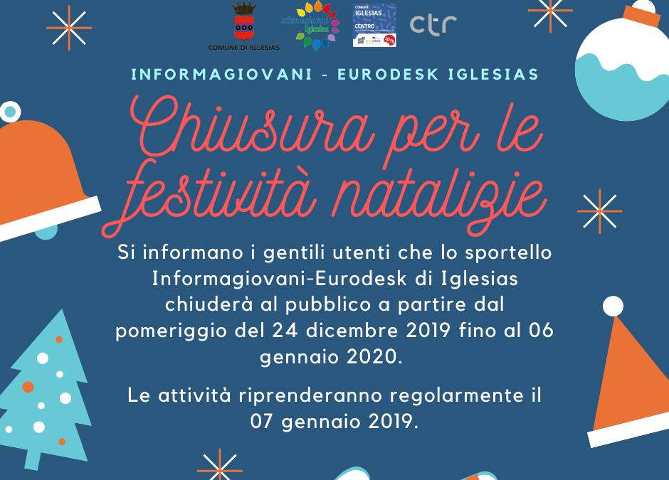 Chiusura dell'Informagiovani-Eurodesk di Iglesias per le festività natalizie