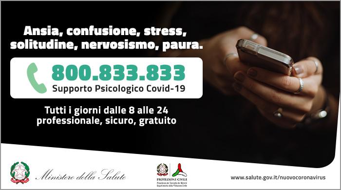 Covid-19, nasce 800.833.833: il numero verde di supporto psicologico