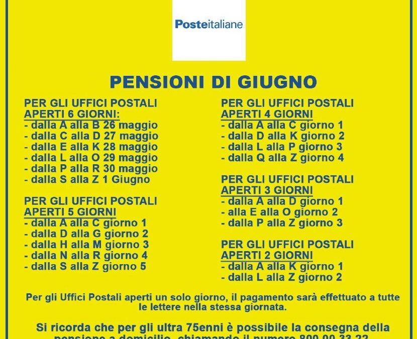 MODALITA' RITIRO PENSIONI GIUGNO 2020