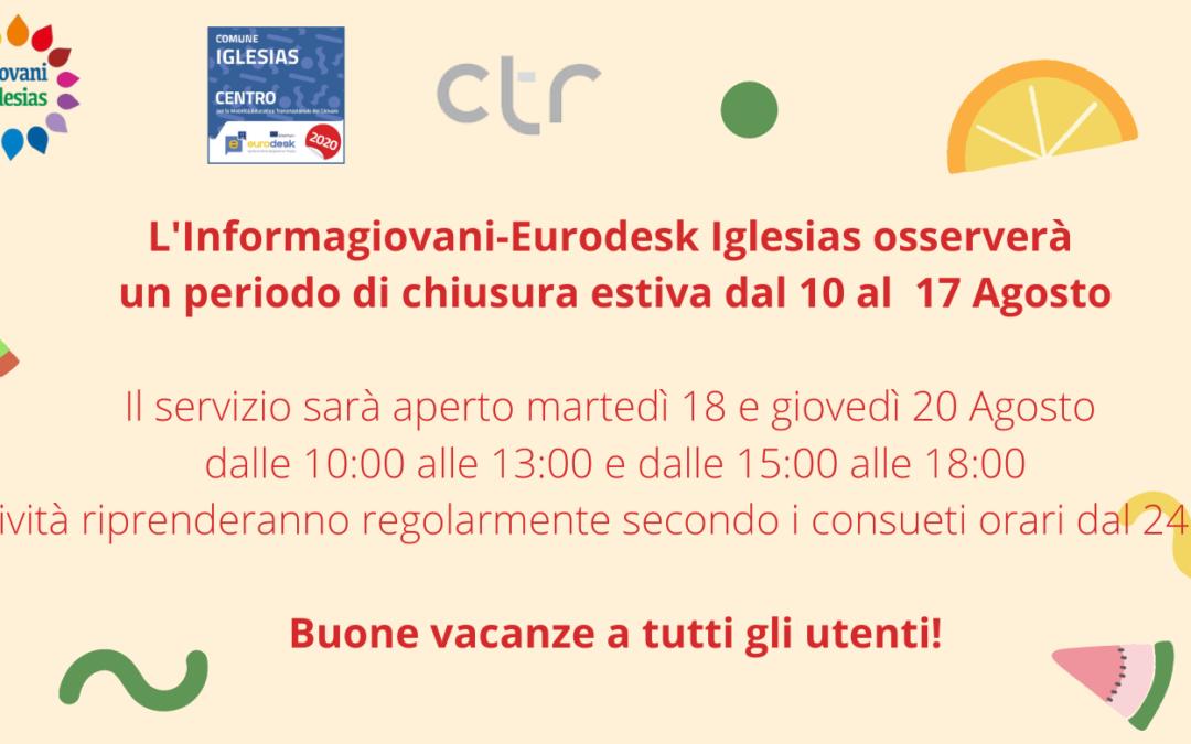 Chiusura ufficio Informagiovani-Eurodesk dal 10 al 17 Agosto