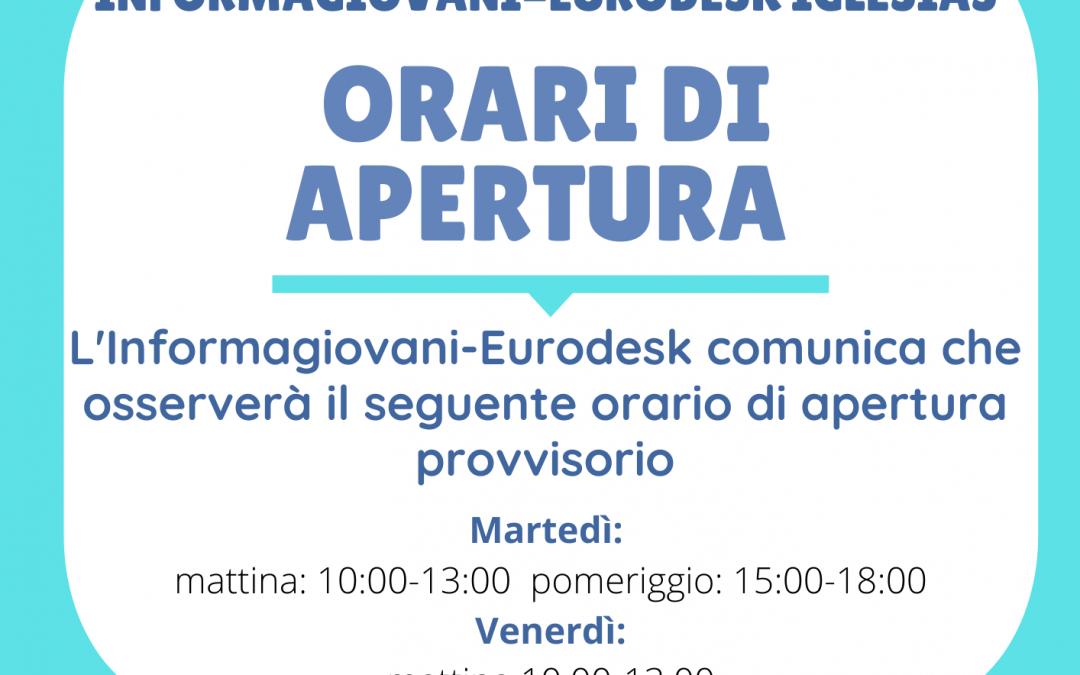 Orario di apertura provvisiorio: Informagiovani-Eurodesk